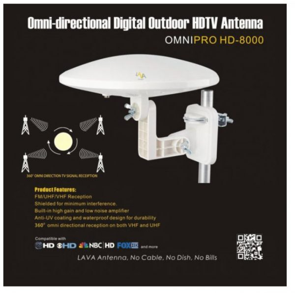 Lava HD8000 Ultra 4K OmniPro Omni Directional Amplified HDTV Antenna [FREE  Installation Kit $50 Value]